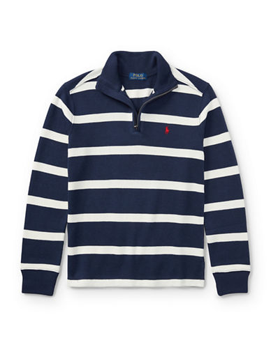 Ralph Lauren Childrenswear Striped French-Rib Pullover-BLUE-Small