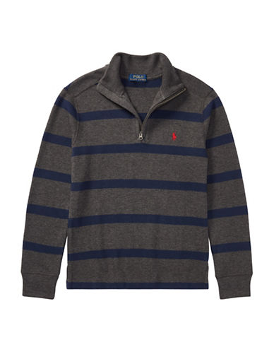 Ralph Lauren Childrenswear Striped French-Rib Pullover-GREY-Small