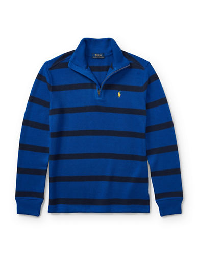 Ralph Lauren Childrenswear Striped French-Rib Pullover-BLUE-Large