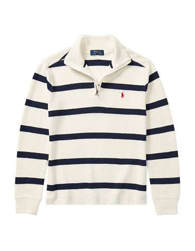 Ralph Lauren Childrenswear Striped French-Rib Pullover-CREAM-Small