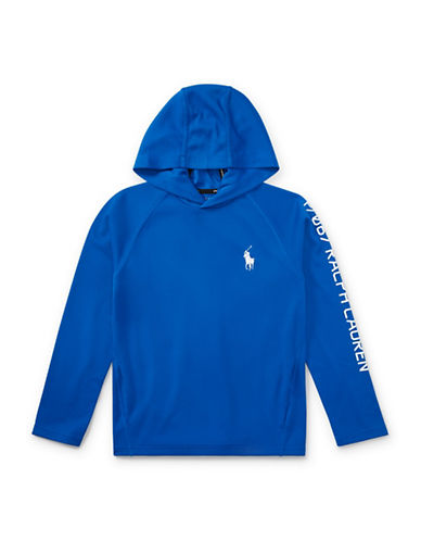 Ralph Lauren Childrenswear Performance Waffle-Knit Hoodie-BLUE-X-Large