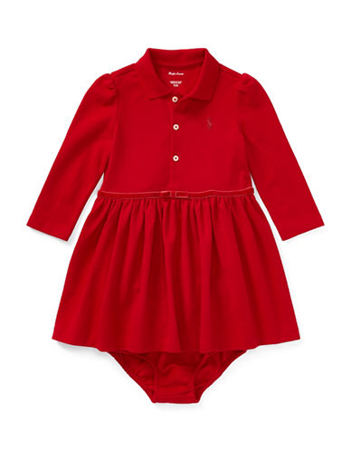 Ralph Lauren Childrenswear Cotton Polo Dress and Bloomer Two-Piece Set-RED-24 Months