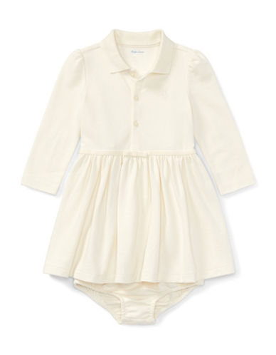 Ralph Lauren Childrenswear Cotton Polo Dress and Bloomer Two-Piece Set-WHITE-9 Months