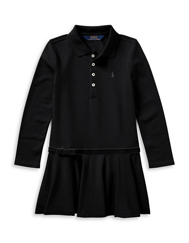 Ralph Lauren Childrenswear Drop-Waist Collared Dress-BLACK-3