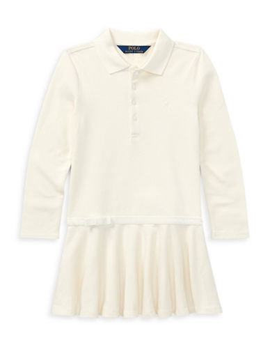 Ralph Lauren Childrenswear Drop-Waist Collared Dress-WHITE-2
