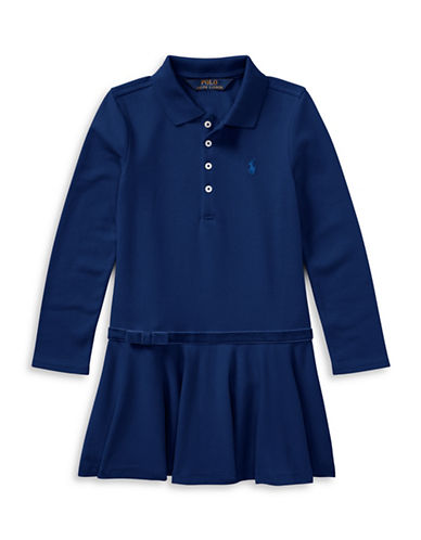 Ralph Lauren Childrenswear Drop-Waist Collared Dress-BLUE-4