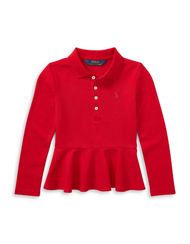 Ralph Lauren Childrenswear Stretch Mesh Fit-and-Flare Polo-RED-6X