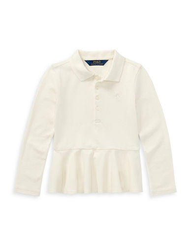 Ralph Lauren Childrenswear Stretch Mesh Fit-and-Flare Polo-WHITE-2