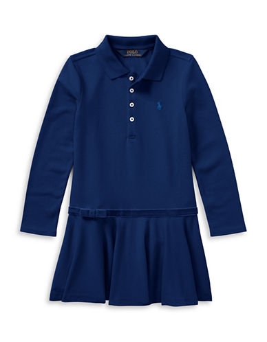 Ralph Lauren Childrenswear Drop-Waist Collared Dress-BLUE-5