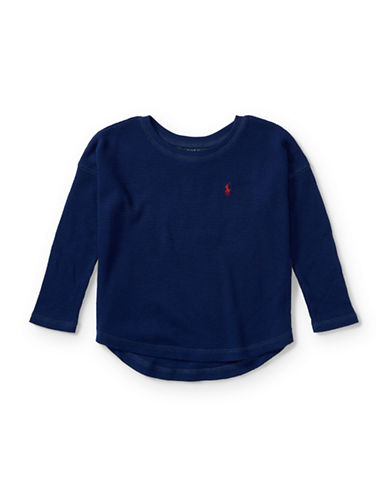 Ralph Lauren Childrenswear Knit Logo Top-BLUE-6X