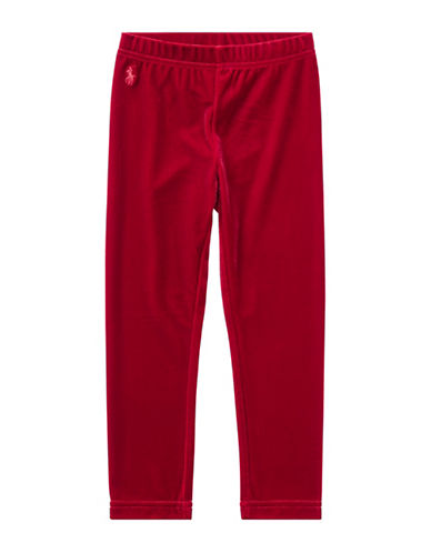 Ralph Lauren Childrenswear Stretch Velvet Leggings-RED-6X