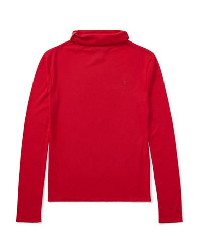Ralph Lauren Childrenswear Ribbed Turtleneck Top-RED-Small