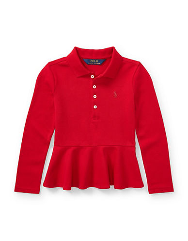 Ralph Lauren Childrenswear Classic Peplum Top-RED-X-Large