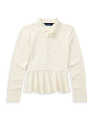 Ralph Lauren Childrenswear Classic Peplum Top-WHITE-X-Large
