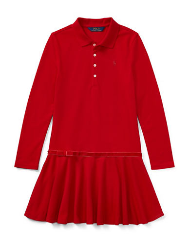 Ralph Lauren Childrenswear Drop-Waist Collared Dress-RED-Large