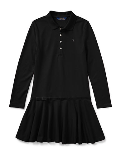 Ralph Lauren Childrenswear Drop-Waist Collared Dress-BLACK-XLarge