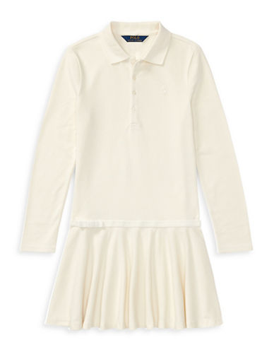 Ralph Lauren Childrenswear Drop-Waist Collared Dress-WHITE-XLarge
