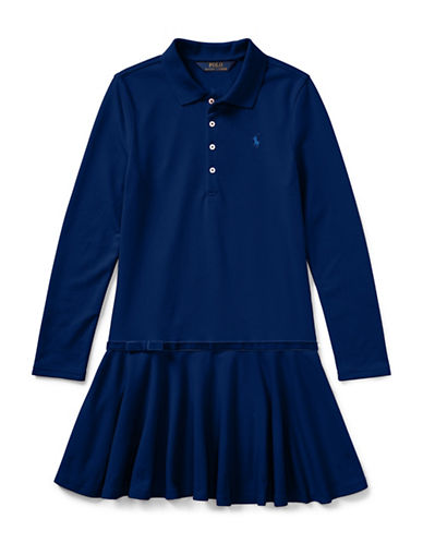 Ralph Lauren Childrenswear Drop-Waist Collared Dress-BLUE-X-Large