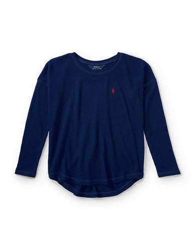 Ralph Lauren Childrenswear Knitted Hi-Lo Top-BLUE-Small