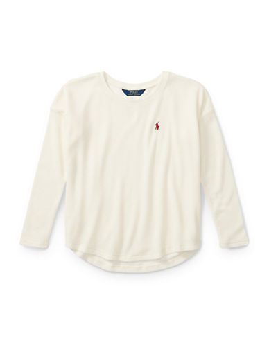 Ralph Lauren Childrenswear Knitted Hi-Lo Top-WHITE-Small