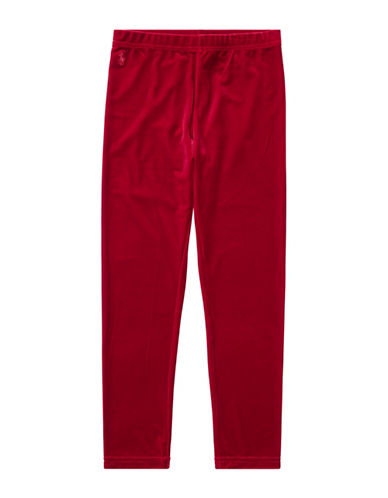 Ralph Lauren Childrenswear Stretchable Velvet Leggings-RED-Medium