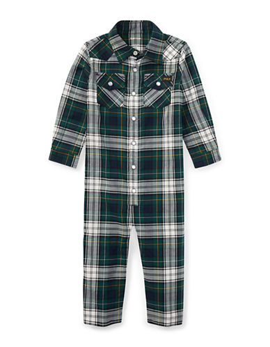 Ralph Lauren Childrenswear Plaid Cotton Western Coverall-BLACK-3 Months