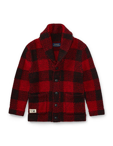 Ralph Lauren Childrenswear Plaid Chunky-Knit Cardigan-RED-3T