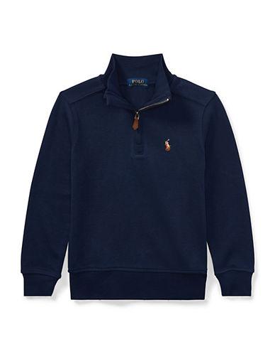 Ralph Lauren Childrenswear Half-Zip Cotton Pullover-BLUE-2T