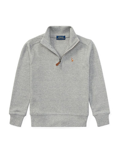 Ralph Lauren Childrenswear Half-Zip Cotton Pullover-GREY-2T