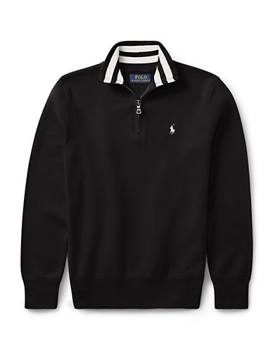 Ralph Lauren Childrenswear Half-Zip Cotton Sweater-BLACK-5