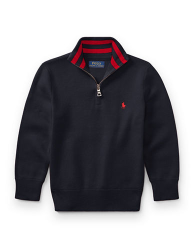 Ralph Lauren Childrenswear Half-Zip Cotton Sweater-BLUE-5