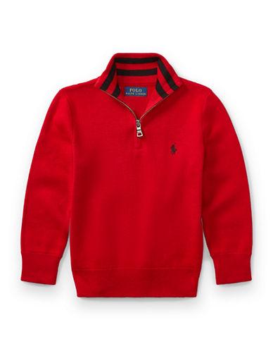 Ralph Lauren Childrenswear Half-Zip Cotton Sweater-RED-6