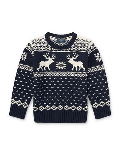 Ralph Lauren Childrenswear Reindeer Cotton-Wool Sweater-NAVY-7