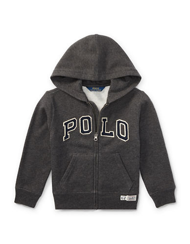 Ralph Lauren Childrenswear Fleece Hooded Jacket-GREY-5
