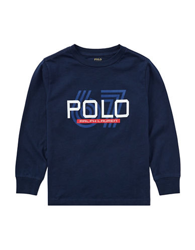 Ralph Lauren Childrenswear Graphic Cotton Jersey T-Shirt-BLUE-6