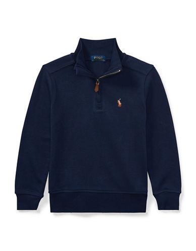 Ralph Lauren Childrenswear Half-Zip Cotton Pullover-BLUE-5