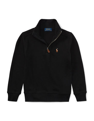 Ralph Lauren Childrenswear Half-Zip Cotton Pullover-BLACK-5