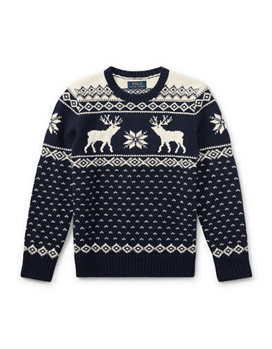 Ralph Lauren Childrenswear Reindeer Crew Neck Sweater-BLUE-Large