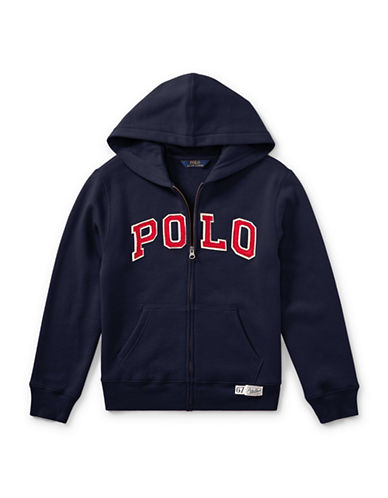Ralph Lauren Childrenswear Zippered Logo Hoodie-BLUE-Small