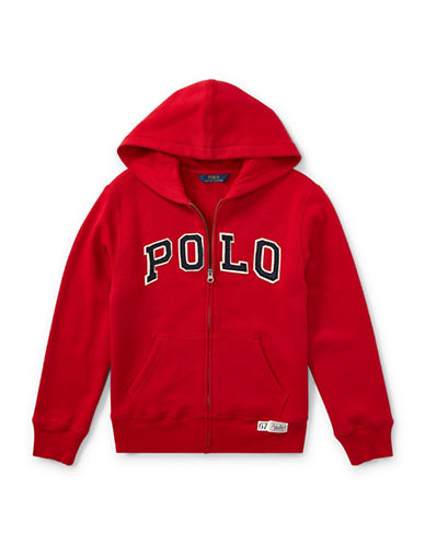 Ralph Lauren Childrenswear Zippered Logo Hoodie-RED-Small