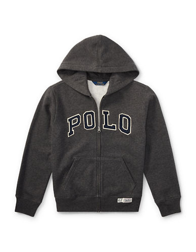 Ralph Lauren Childrenswear Zippered Logo Hoodie-GREY-Large
