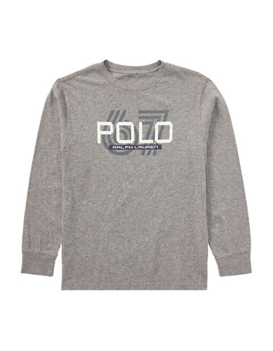 Ralph Lauren Childrenswear Cotton Jersey Graphic T-Shirt-GREY-Small