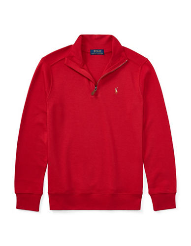 Ralph Lauren Childrenswear Cotton Half-Zip Pullover-RED-Large