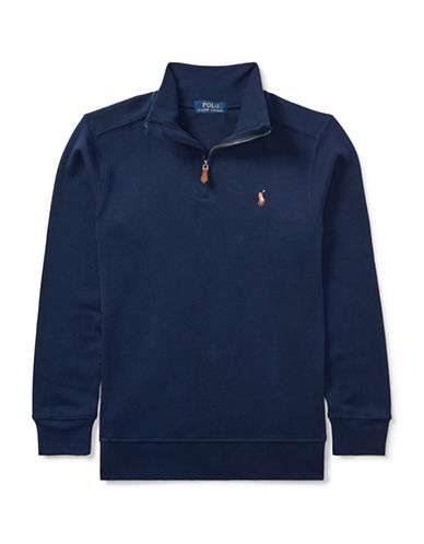 Ralph Lauren Childrenswear Cotton Half-Zip Pullover-BLUE-Small