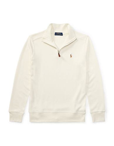 Ralph Lauren Childrenswear Cotton Half-Zip Pullover-NATURAL-Small