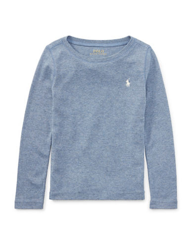 Ralph Lauren Childrenswear Cotton-Blend Long Sleeve T-Shirt-BLUE-3T