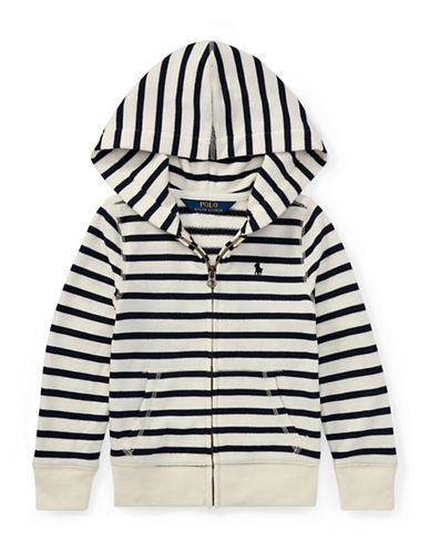 Ralph Lauren Childrenswear Striped Terry Hoodie-BEIGE-4T
