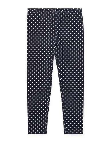 Ralph Lauren Childrenswear Polka-Dot Jersey Leggings-BLUE-4T