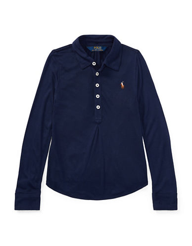 Ralph Lauren Childrenswear Jersey Long-Sleeve Popover-BLUE-6X