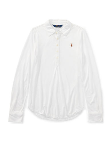 Ralph Lauren Childrenswear Jersey Long-Sleeve Popover-WHITE-6X